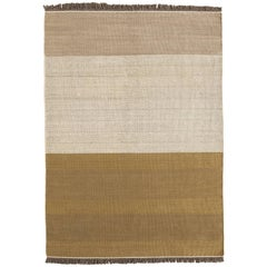 Hand-Loomed Tres Stripes Rug in Ochre by Nani Marquina & Elisa Padro, Large