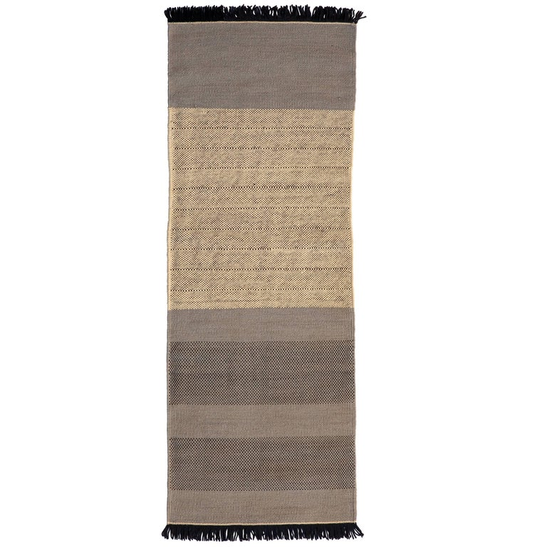Hand-Loomed Tres Stripes Runner in Blue by Nani Marquina & Elisa Padro For Sale