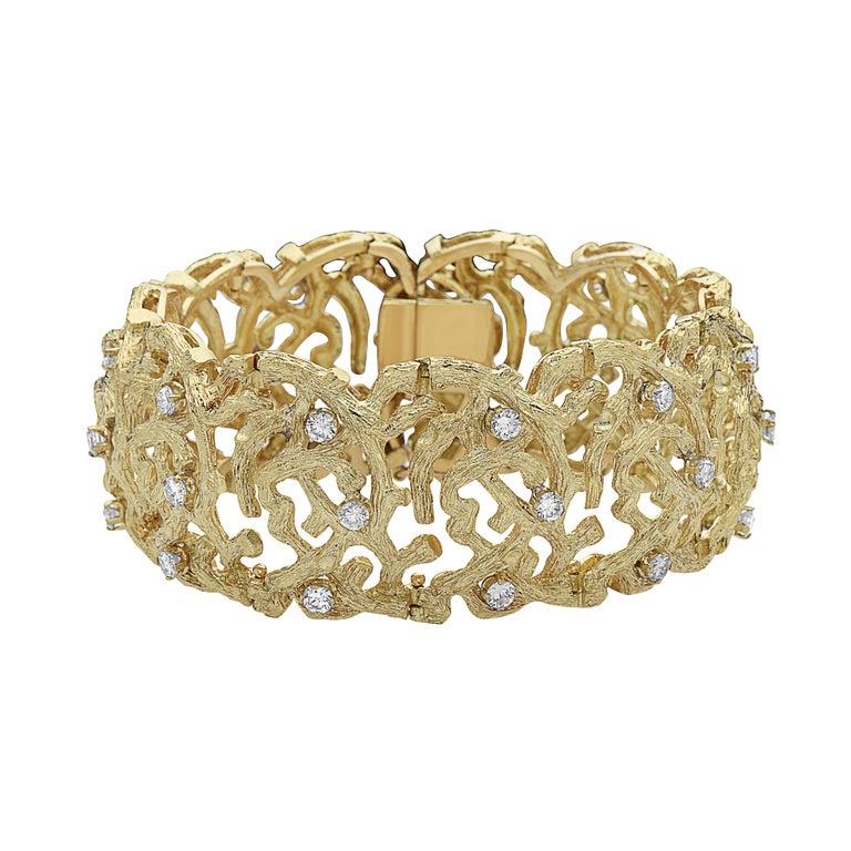 Emilio Jewelry Handmade 18 Karat Yellow Gold Diamond Bracelet