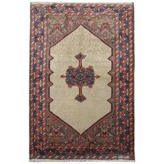 Handmade Carpet Antique Caucasian Rug, Beige Wool Oriental Living Room Rug