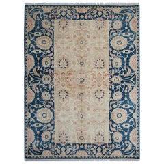 Handmade Carpet, Floral Oriental Rug, Blue Living Room Rugs for Sale