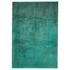 Hand Made Carpet, Oriental Rug Over Dyed Vintage Blue Rugs for Sale