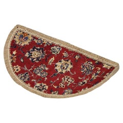 Handmade Carpet Semicircle Entrance Way Mat, Vintage Oriental Rug Door Mat