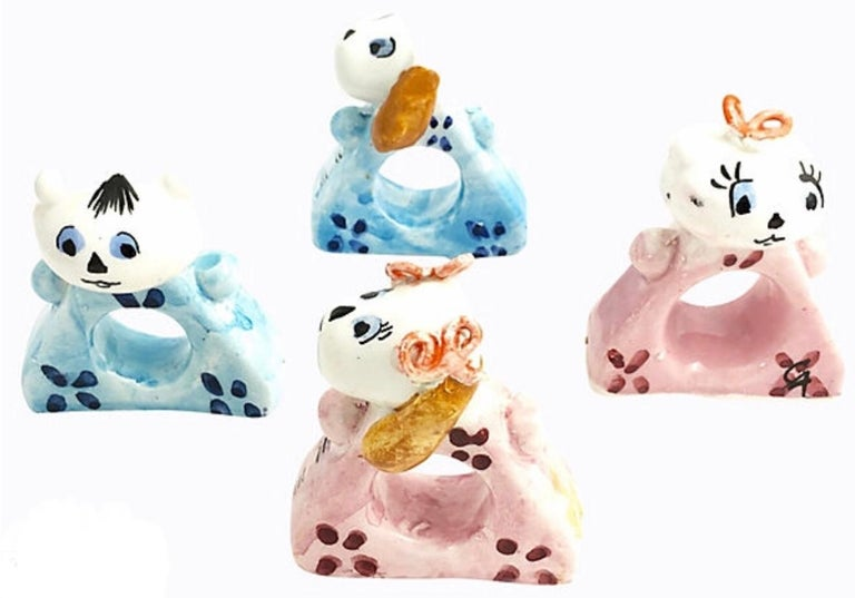 20th Century Handmade Cat and Dog Napkin Rings Set of 10 For Sale