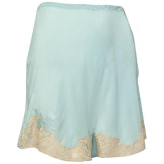 Hand Made Celadon Georgette and Lace Tap Panties with Bow Detail, Saks–S, 1940s