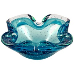 Hand Made Electric Blue and Clear Bubble Art Glass Ashtray, circa 1960s