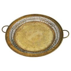 Hand Made Embossed Brass Tray