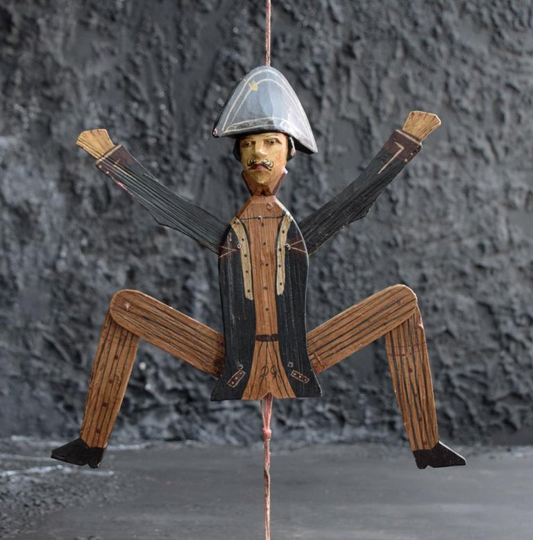 Wood Hand Made German Folk Art Jumping Jack Soldier Toy Figure, circa 1890 For Sale