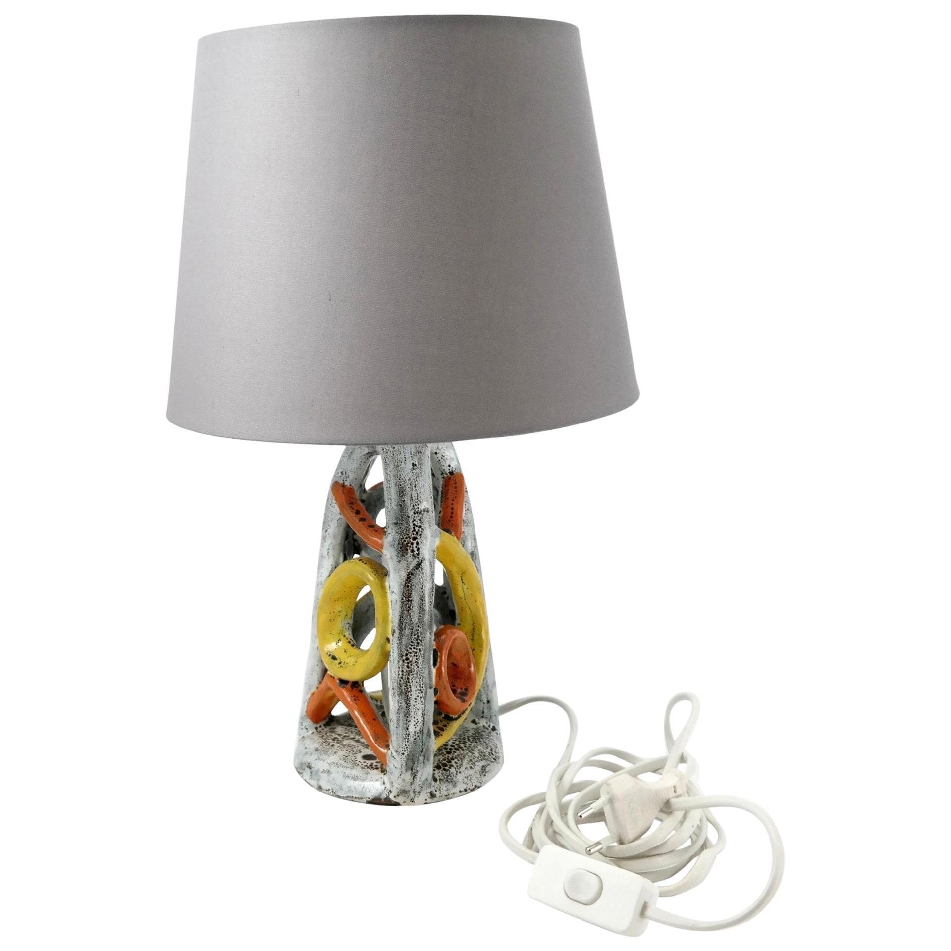 Handmade Glazed Ceramic Table Lamp, 1970s