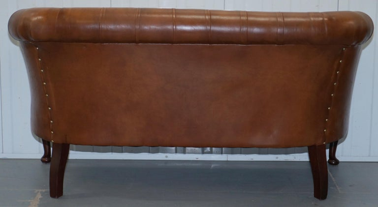 Handmade in England Chesterfield Brown Leather Tub Armchair & 2 Small Seat Sofa For Sale 3