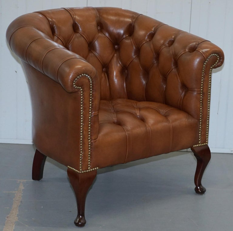 Handmade in England Chesterfield Brown Leather Tub Armchair & 2 Small Seat Sofa For Sale 5