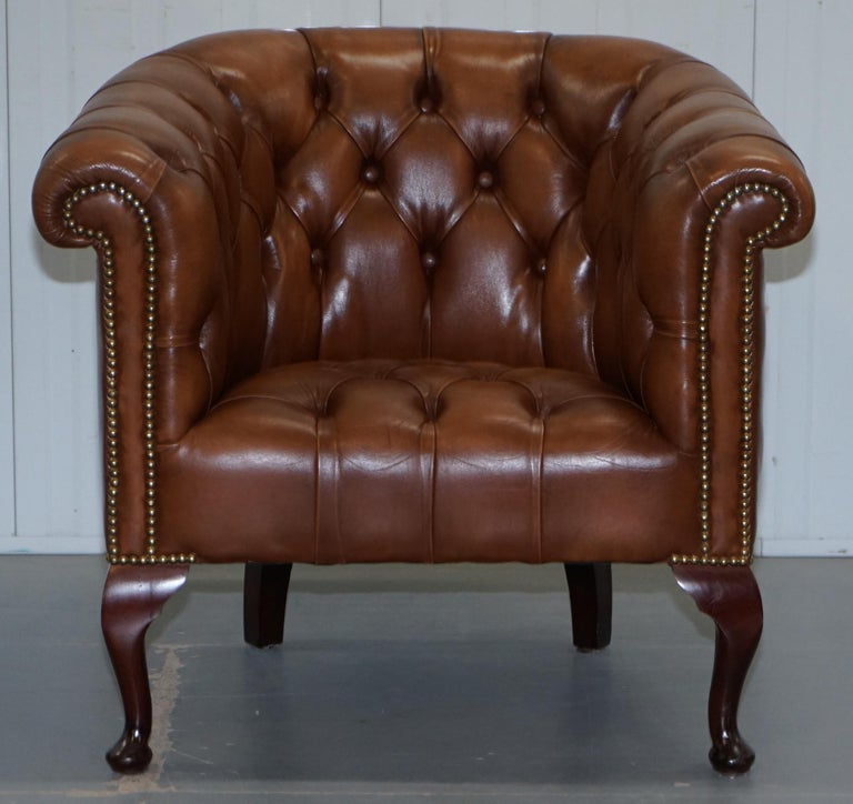 Handmade in England Chesterfield Brown Leather Tub Armchair & 2 Small Seat Sofa For Sale 6