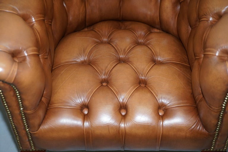 Handmade in England Chesterfield Brown Leather Tub Armchair & 2 Small Seat Sofa For Sale 7