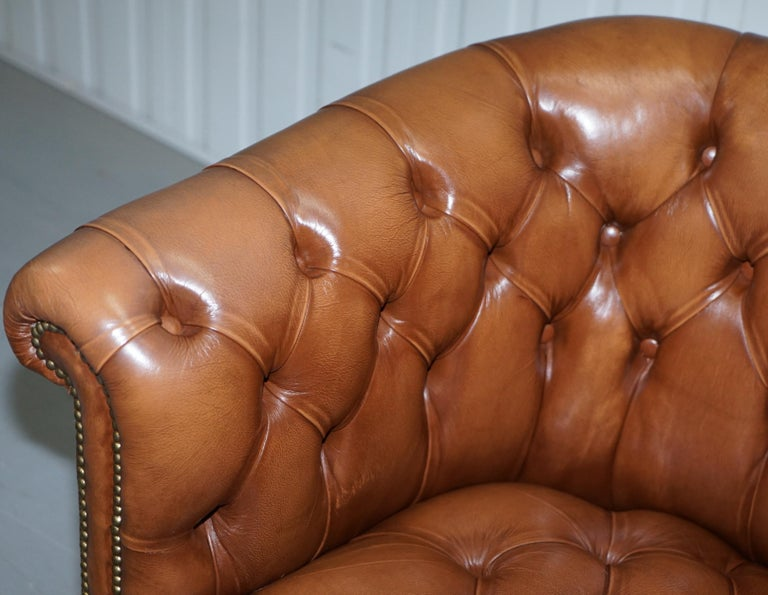 Handmade in England Chesterfield Brown Leather Tub Armchair & 2 Small Seat Sofa For Sale 8