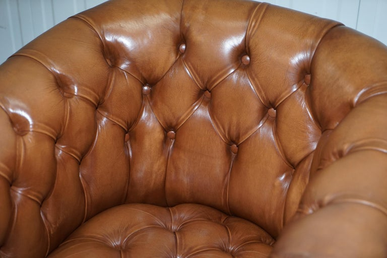 Handmade in England Chesterfield Brown Leather Tub Armchair & 2 Small Seat Sofa For Sale 9