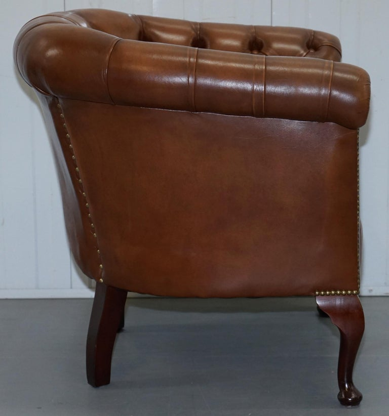 Handmade in England Chesterfield Brown Leather Tub Armchair & 2 Small Seat Sofa For Sale 12