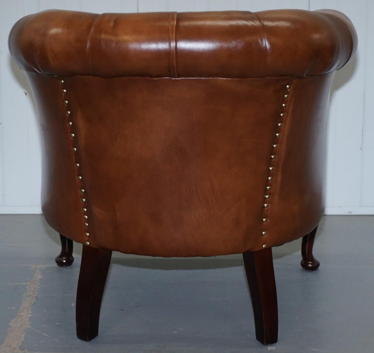 Handmade in England Chesterfield Brown Leather Tub Armchair & 2 Small Seat Sofa For Sale 13