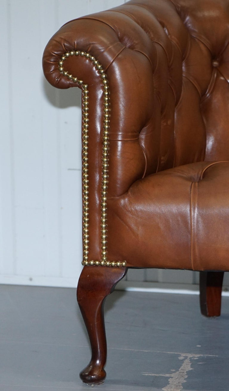 English Handmade in England Chesterfield Brown Leather Tub Armchair & 2 Small Seat Sofa For Sale