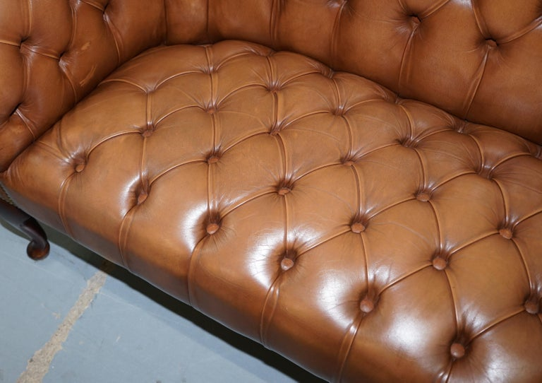 Handmade in England Chesterfield Brown Leather Tub Armchair & 2 Small Seat Sofa In Good Condition For Sale In London, GB