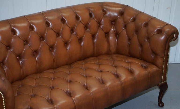 20th Century Handmade in England Chesterfield Brown Leather Tub Armchair & 2 Small Seat Sofa For Sale