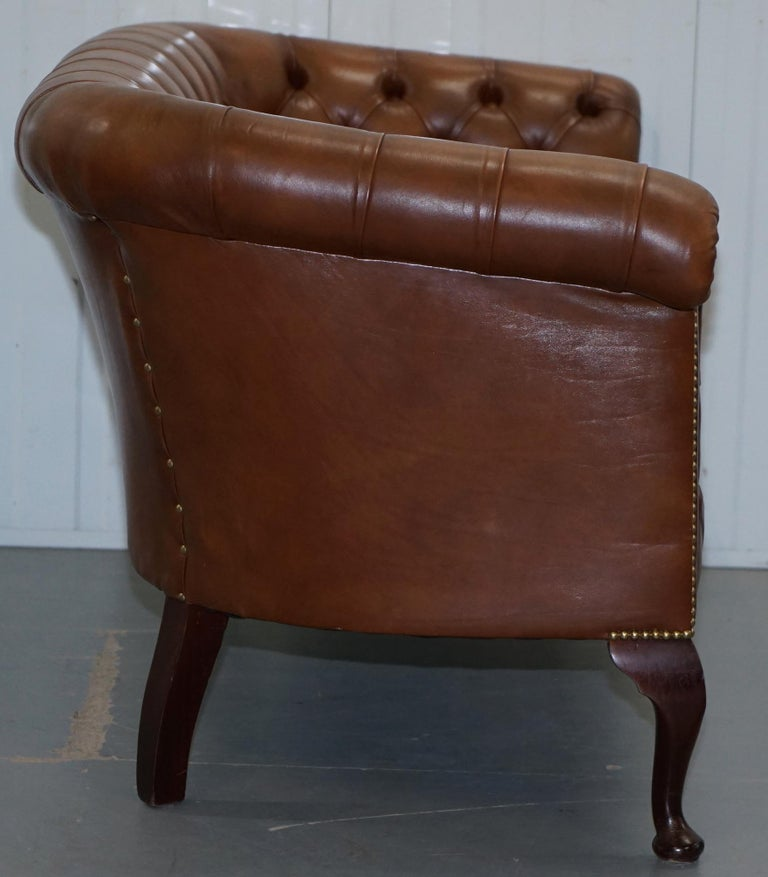 Handmade in England Chesterfield Brown Leather Tub Armchair & 2 Small Seat Sofa For Sale 1