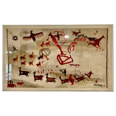 Handmade Indigenous Wool Rug from Northern Argentina, Framed Professionally