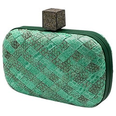 Hand Made Leather Clutch With Diamond Clasp