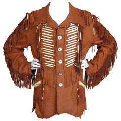 Hand Made Leather Fringe Mahopa Jacket 1970s