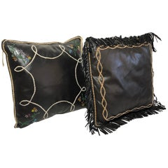 Handmade Leather Pillows Southwestern Style Embroidered, Beaded Hand Tooled