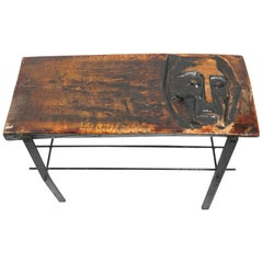 Handmade Massive Wood Side Table on Iron Base, 1970s