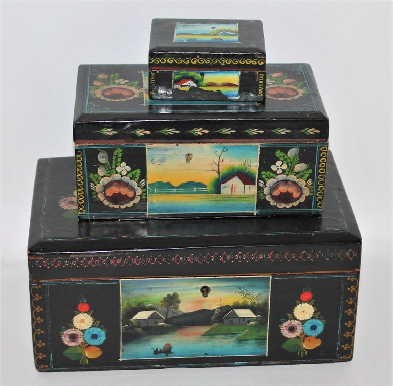 Set of three handmade Mexican Boxes. Original paint and great patina.