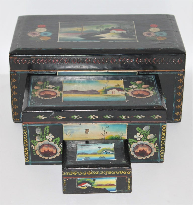 Handmade Mexican Boxes Set of Three In Good Condition For Sale In Los Angeles, CA