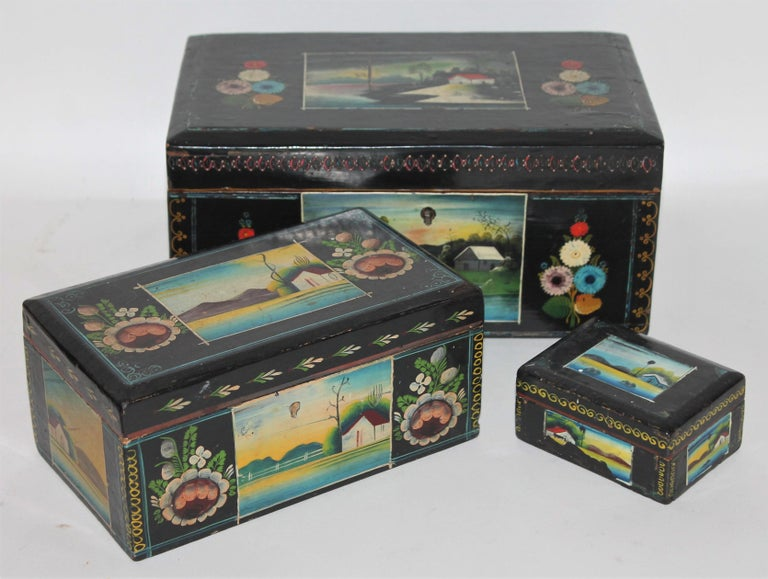 20th Century Handmade Mexican Boxes Set of Three For Sale