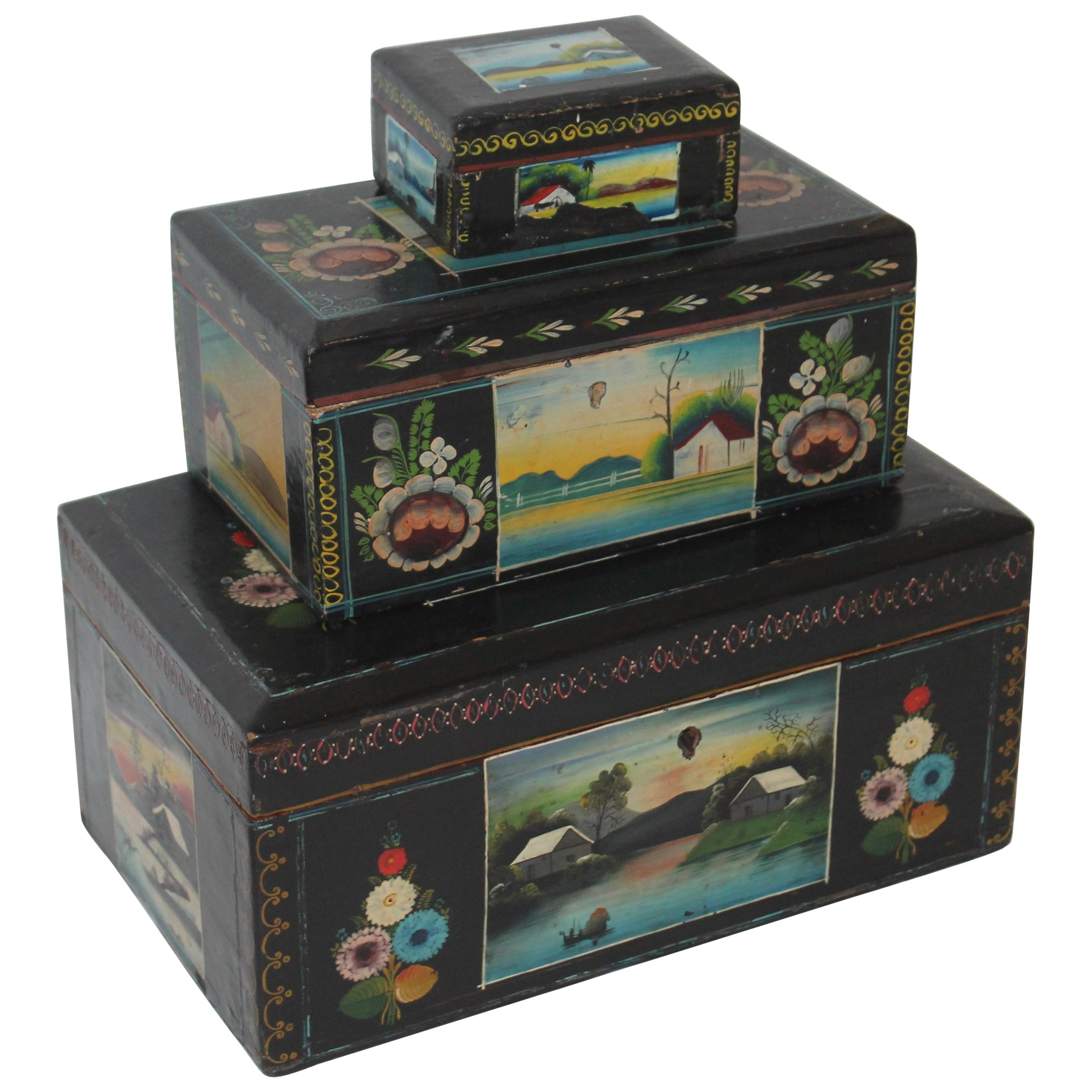 Handmade Mexican Boxes Set of Three