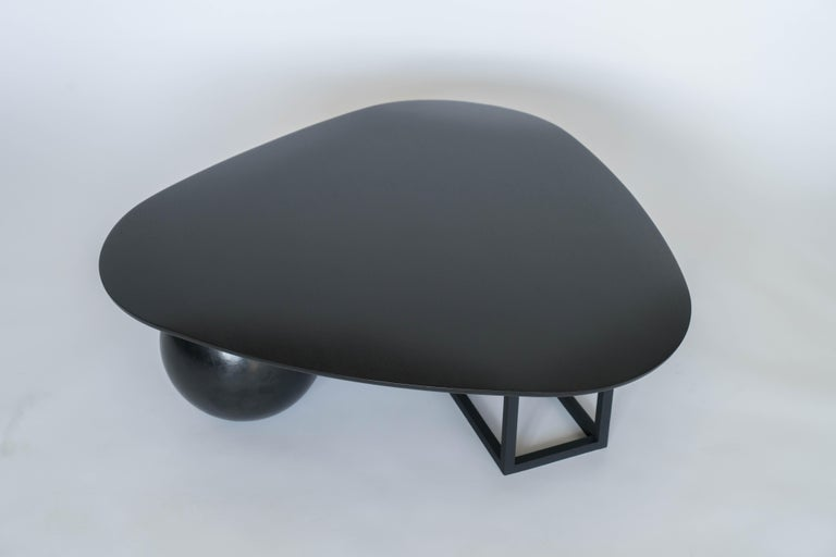 American Hand Made Modern/Contemporary Blackened Steel and Black Ash Coffee Table For Sale