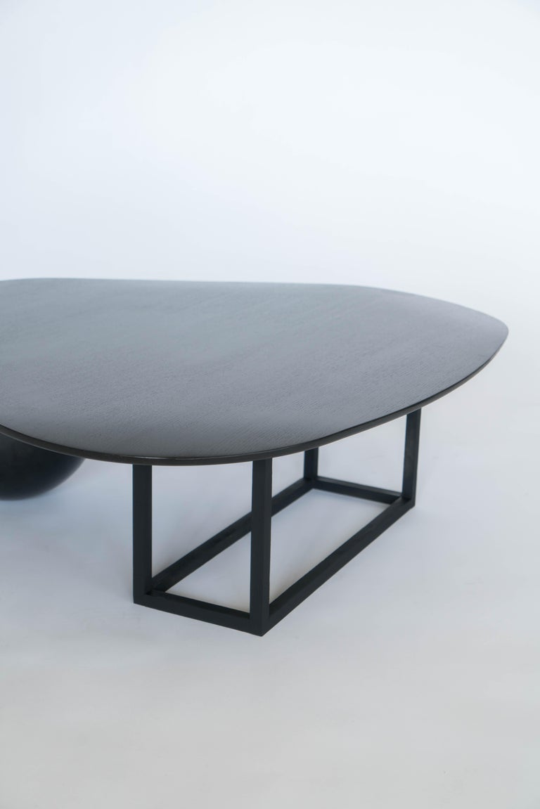 Hand Made Modern/Contemporary Blackened Steel and Black Ash Coffee Table For Sale 2