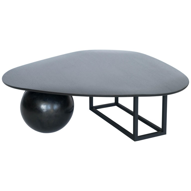 Hand Made Modern/Contemporary Blackened Steel and Black Ash Coffee Table For Sale