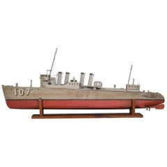 Handmade Motorized Wooden Ship Model, circa 1930