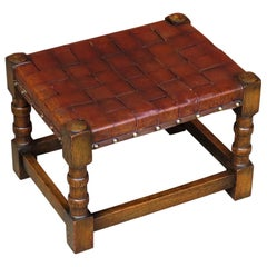Handmade Oak Stool with Woven Leather Strap Top, Arts & Crafts Late 19th Century