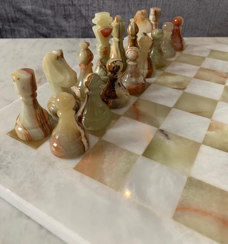 Pakistani Handmade Onyx and Marble Chess Board and Pieces For Sale