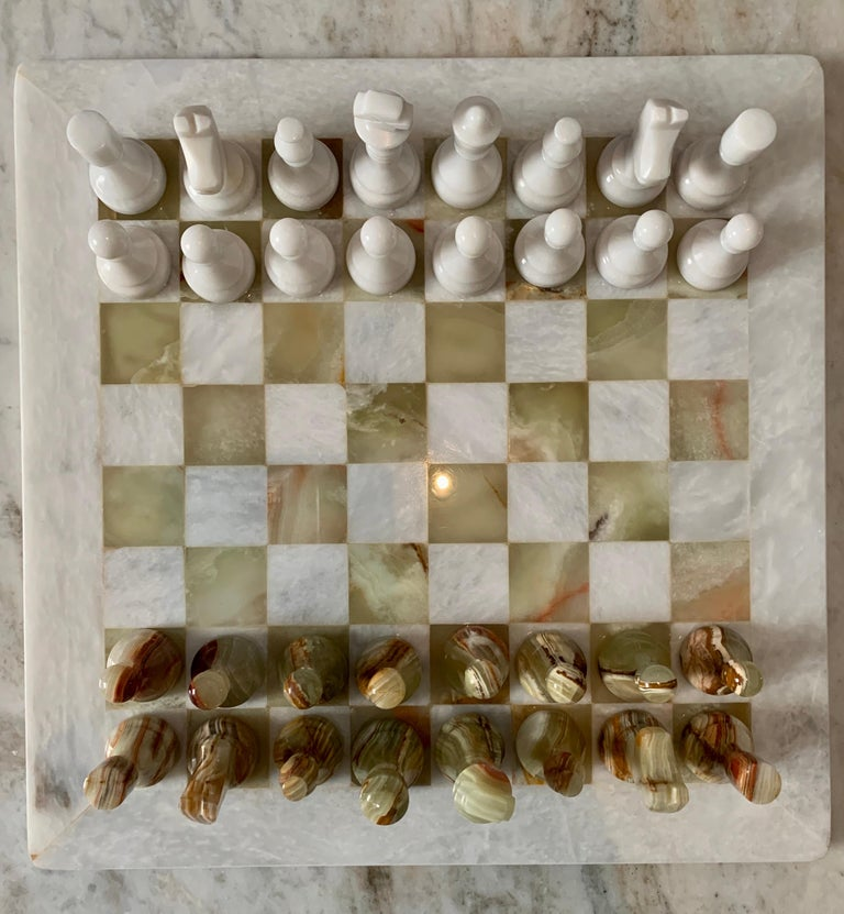 Abalone Handmade Onyx and Marble Chess Board and Pieces For Sale