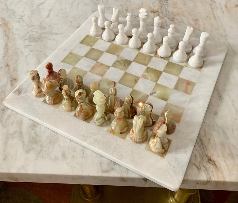 Handmade Onyx and Marble Chess Board and Pieces For Sale 2