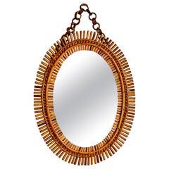 Hand Made Oval Rattan Mid Century Mirror