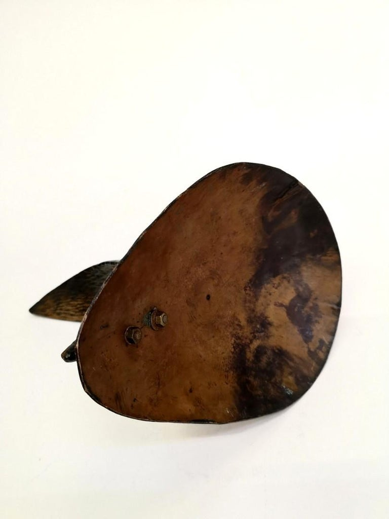 Handmade Patinated Copper Fish Sculpture, 1970s For Sale 1