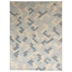 Hand-Made Scandinavian Style Kilim Blue Flat Weave by Rug & Kilim