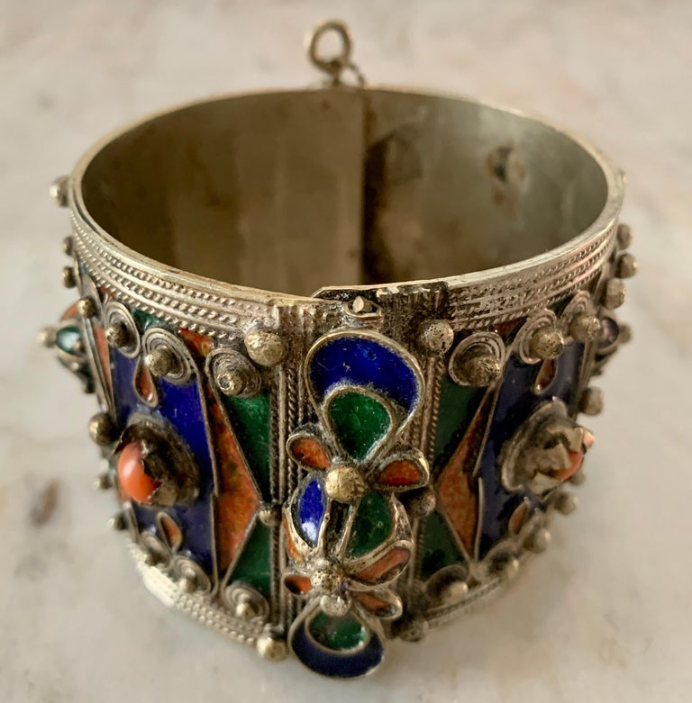 Handmade silver and enamel bracelet cuff - wonderful detailing and colors - a must have for the bohemian styled person - a great stand alone piece or with added bangles.