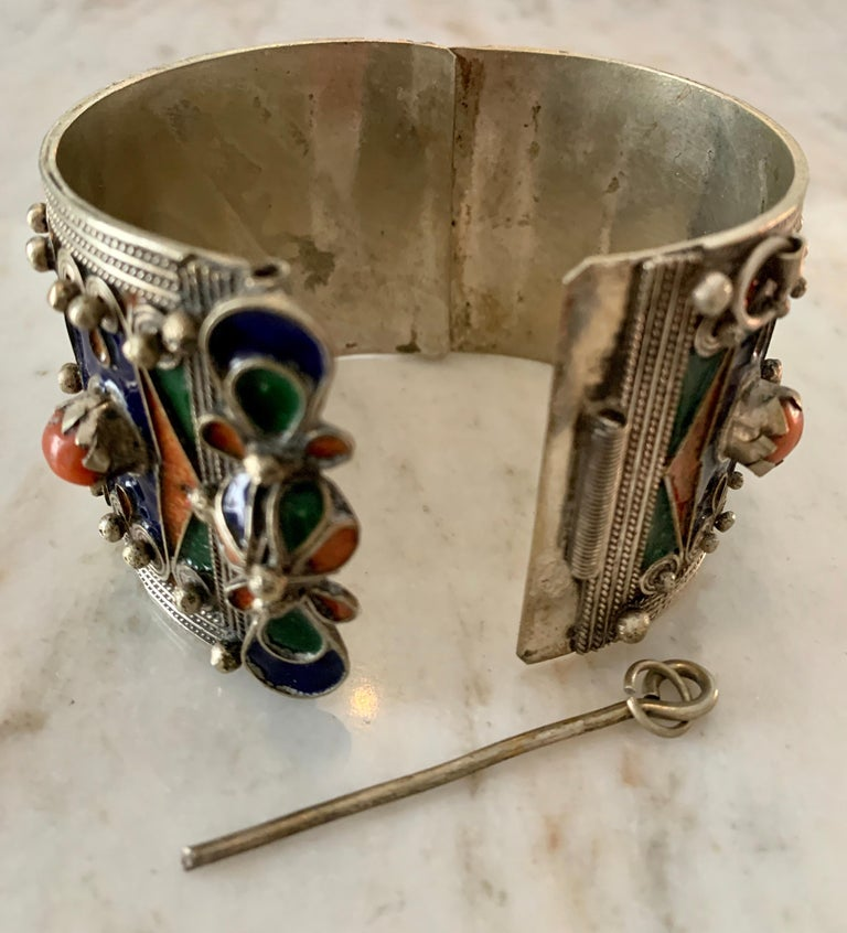 20th Century Handmade Silver and Enamel Bracelet Cuff For Sale