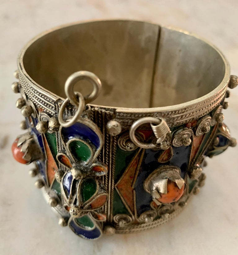 Handmade Silver and Enamel Bracelet Cuff For Sale 1