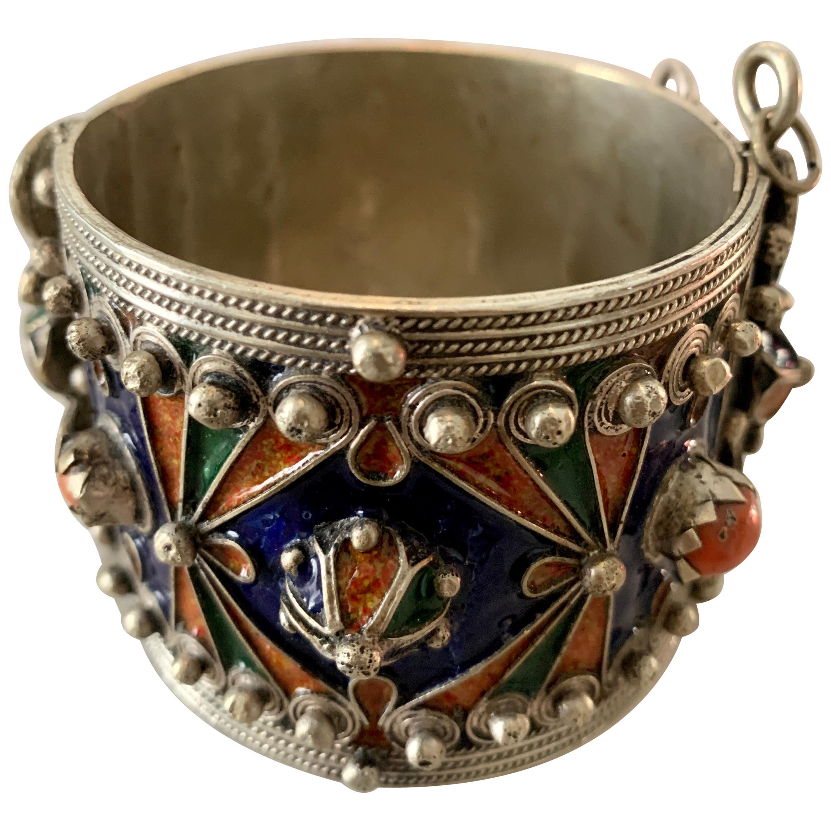 Handmade Silver and Enamel Bracelet Cuff