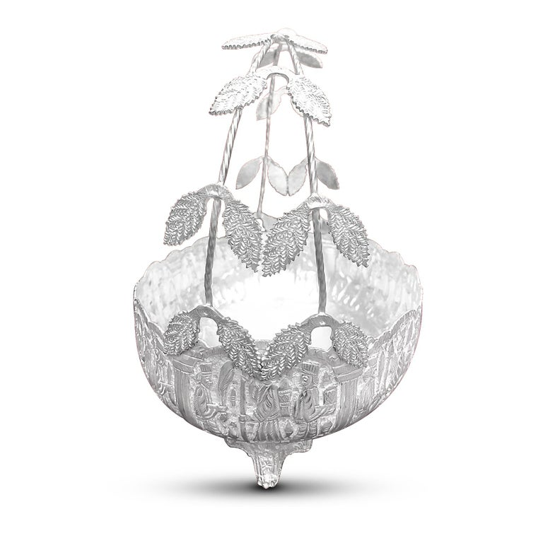 Arts and Crafts Handmade Silver Bowl Oval Shape with 4 Legs and Handle with Leaves For Sale